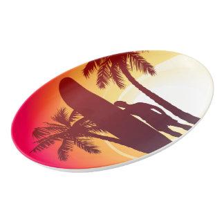 Longboard and palms porcelain serving platter