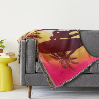 Longboard and palms throw blanket