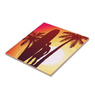 Longboard and palms tile