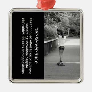 Longboard Girl Perseverance Metal Ornament