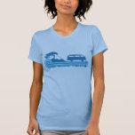 'Longboard' Retro Surf Tee in Turquoise & Aqua