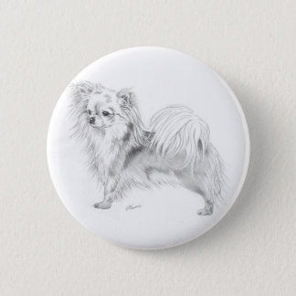 Longcoat chihuahua - standing 2 inch round button