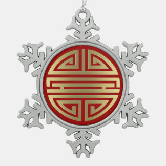 Longevity | Awesome Chinese Character Snowflake Pewter Christmas Ornament
