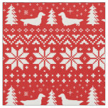 Longhaired Dachshund Silhouettes Christmas Pattern Fabric