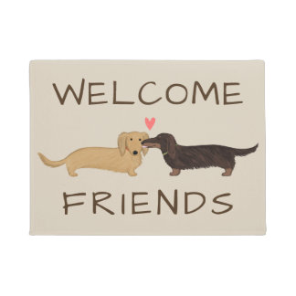 Longhaired Dachshunds Welcome Mat with Custom Text