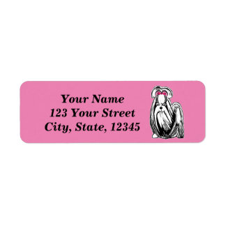 Longhaired Shih Tzu Dog Pink Return Address Labels