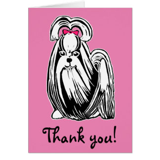 Longhaired Shih Tzu Dog Pink Thank You Card
