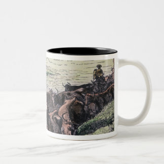 Longhorn cattle drive from Texas to Abilene, Kansa Two-Tone Coffee Mug