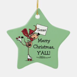 Longhorn Roller Skating-Merry Christmas Y'all! Ceramic Ornament