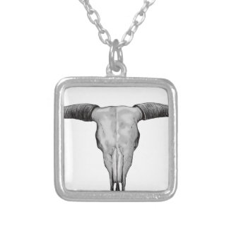 Longhorn Scull Silver Plated Necklace