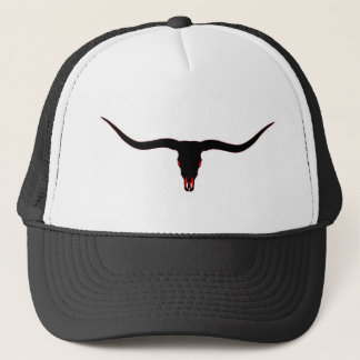 Longhorn Skull Black and Red Trucker Hat