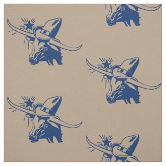 Longhorn Steer Head With Cowboy Dark Blue Fabric