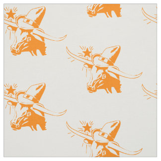 Longhorn Steer Head With Cowboy Hat I Fabric