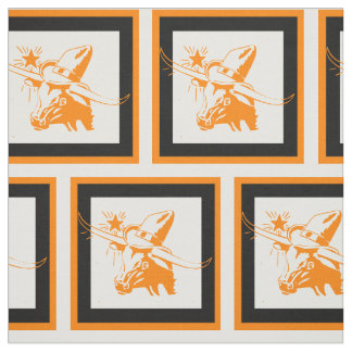 Longhorn Steer Head With Cowboy Hat With Frame 2 Fabric