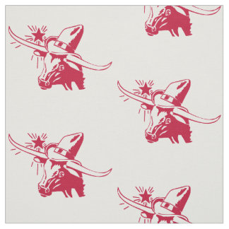 Longhorn Steer Head With Cowboy Texas Red Fabric