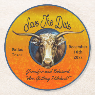 Longhorn Western Save The Date Coaster