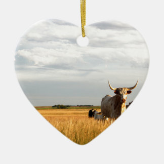Longhorns on the open range ceramic heart ornament