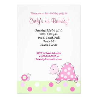 Lonnie s Pink Turtle 5x7 Girls Birthday Invitation