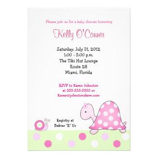 Lonnie s Pink Turtle Baby Shower Invitation