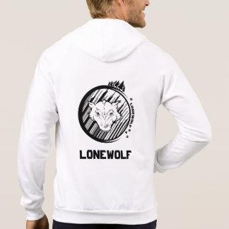 Lonwolf Men's Fleece Zip Hoodie, White Hoodie