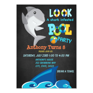 Look A Shark Infested Pool Party Invitation