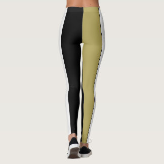 Look a Size Smaller Stripes Black Gold White Leggings