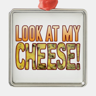 Look At Blue Cheese Silver-Colored Square Ornament