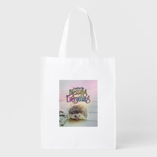 Look For The Blessing Hedgehog Motivational Quote Market Totes
