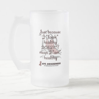 """""""Look"""" healthy/Butterfly...APS Frosted Glass Beer Mug"""