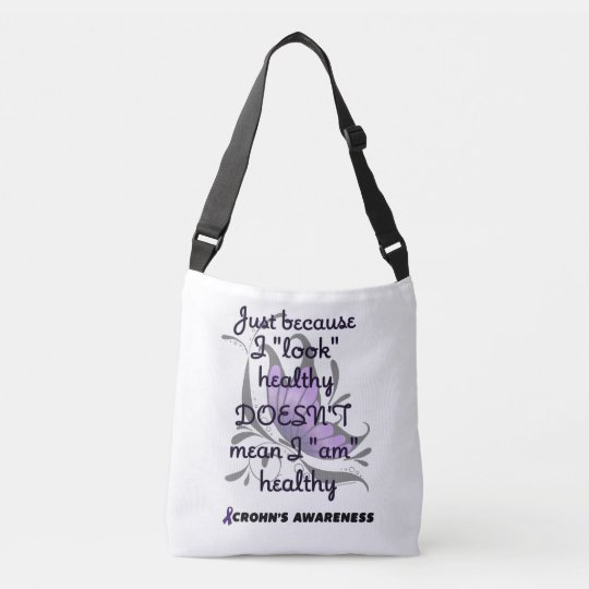 """Look"" healthy/Butterfly...Crohn's Crossbody Bag"