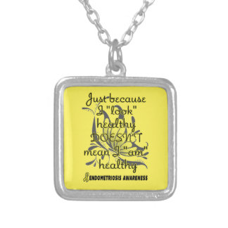 """""""Look"""" healthy/Butterfly...Endometriosis Silver Plated Necklace"""