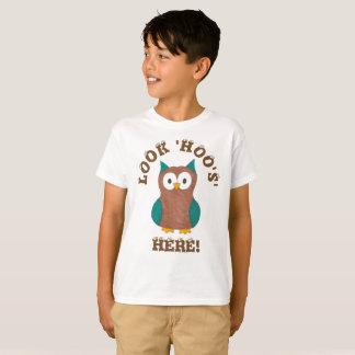 Look Hoo's (Who's) Here Wise Brown Owl Eyes Bird T-Shirt