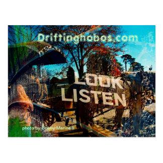 look listen post card