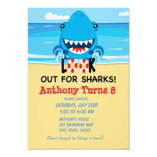 Look Out For Sharks...Beach Birthday Invitation