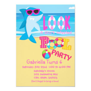 shark pool party invitations announcements zazzle ca