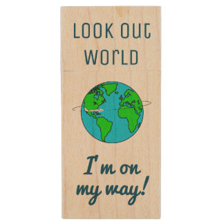 Look Out World Wood USB Flash Drive