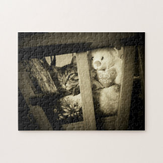 Look over there Cat and Bear Jigsaw Puzzle