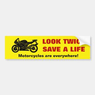 """""""Look Twice"""" Motorcycle Awareness Bumper Sticker"""