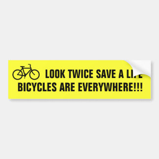 Look Twice Save A Life (yellow) Bumper Sticker