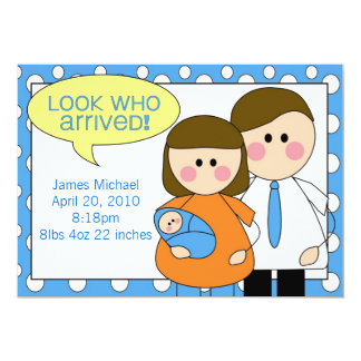 """look who arrived - baby boy 5"""" x 7"""" invitation card"""