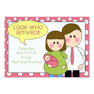 """look who arrived - baby girl 5"""" x 7"""" invitation card"""