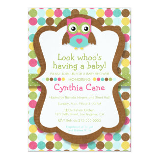 Look Whoo's Having a Baby - Owl Girl Baby Shower Card