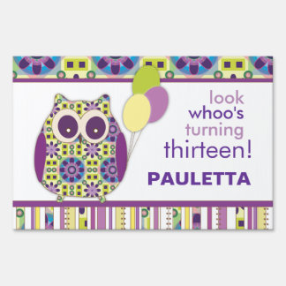 Look Whoo's Having a Birthday Purple Power Owl Sign