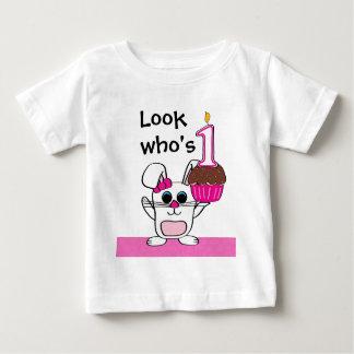 Look Who's 1 Birthday Girl Rabbit & Cupcake Baby T-Shirt