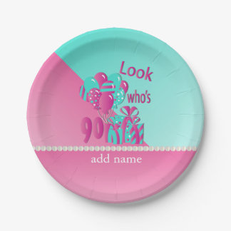 Look Who's 90 | 90th Birthday - Pink and Turquoise 7 Inch Paper Plate