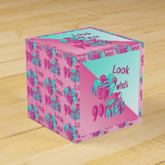 Look Who's 90 | 90th Birthday - Pink and Turquoise Party Favor Box