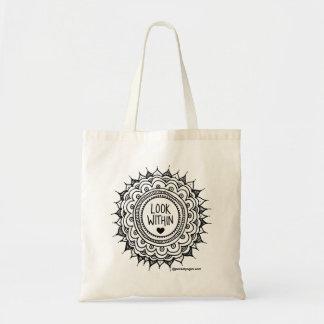 Look Within Mandala Grocery Bag Black Print