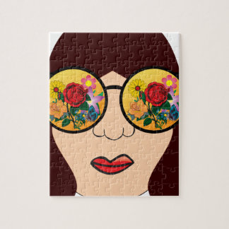 Looking at flowers jigsaw puzzle