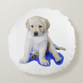 Looking Down Labrador Puppy Round Pillow