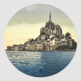 Looking east at high water, Mont St. Michel, Franc Classic Round Sticker